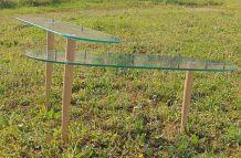 table basse verre avec plateau  pivotant  pied fuseau bois 1