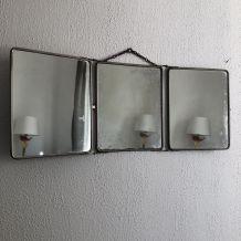 Miroir triptyque barbier Le Solide Paris vintage 1930 - 33 x