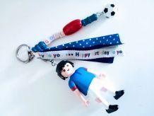 Porte clé Playmobil football français, bijou de sac