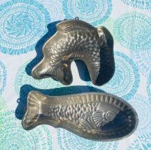 Lot de 2 moules poissons vintage anciens