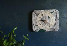 """Horloge vintage pendule murale silencieuse """"Jaz Végétal"""""""