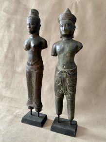 Paire de bronzes khmers
