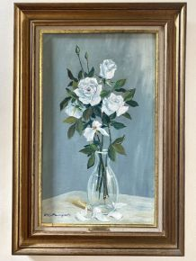 Huile sur toile «Les Roses Blanches» de Guy Pennamen