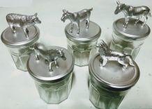 Bocaux animaux argentés, rangement et décoration