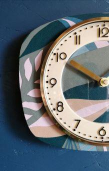 """Horloge vintage pendule murale silencieuse """"Bleu Vert Rose"""""""