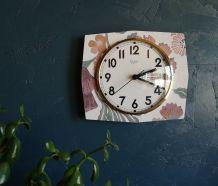 Horloge vintage formica pendule murale silencieuse BC Paris