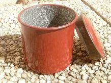 pot  ,  boite  en acier  émaillé, vintage