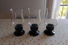3 photophores en verre ARC