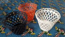 3 cache-pots plastique vintage
