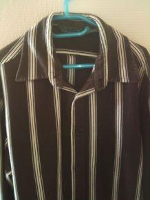 Chemise manche longue marron à rayure taille L marque Zara