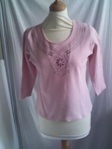 Tee shirt rose manche 3/4 taille 38