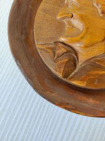 Assiette en bois vintage années 50s