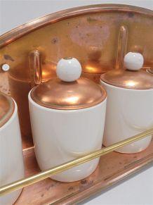 Étagère en cuivre et ses 5 pots à épices