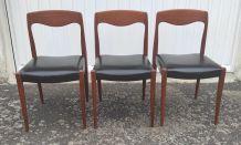 Set de 3 Chaises style scandinave en teck – années 60/70
