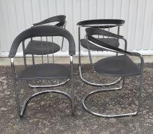 Set de 4 Chaises métal chromé et cuir style Bauhaus – 80's