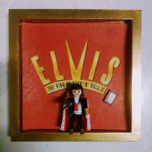 Cadre Elvis Playmobil, collector Playmobil, cadre bois doré