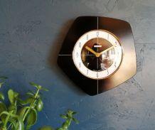 """Horloge formica vintage pendule silencieuse """"Bayard noir"""""""