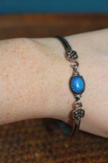 Ancien Bracelet argent et pierre bleu  année 70