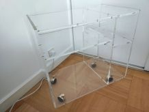 Meuble TV plexiglas acrylique style David Lange - TBE