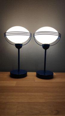 """lampes """"space age"""" métal bleu et opaline"""