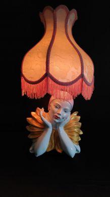 lampe pierrot en céramique et abat-jour tissu