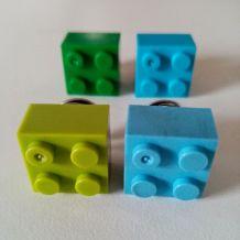 Pin's Lego, lot de 4 en vert et bleu, pour cravate, veste