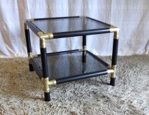 Table basse bois et métal doré – années 60/70