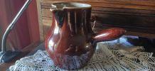 pot à lait broc pichet en grès vernissé marron très ancien
