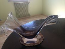 Grande coupe en verre vintage (socle inclus diam. 24cm)