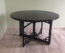 Table ronde en bois noire diamètre 120 cm