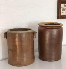 Les 2 gros pots  grès vintage