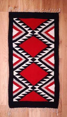 Tapis kilim ethnique oriental rouge noir beige 60x130cm