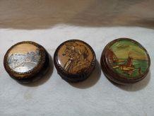lot 3 boites bijoux bois peintes période 1950/60
