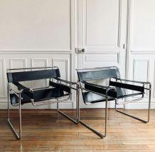 Marcel Breuer - Chaise Wassily B3 en cuir noir