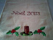 Torchon de cuisine  brodé Noël 2021