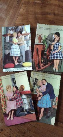 20 cartes postales couple vintage années 60