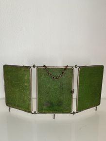 Miroir vintage 1930 triptyque barbier citron vert - 28 x 59