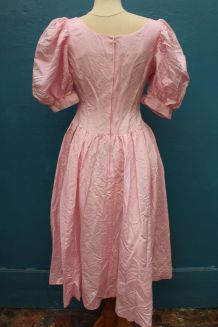 robe longue rose pale style princesse année 70-80