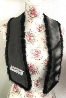 Echarpe noir fourrure vintage