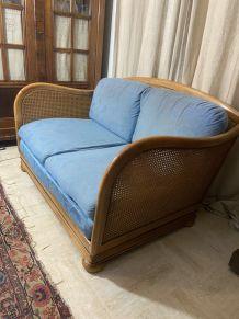 Canapé vintage en cannage et bois 1960
