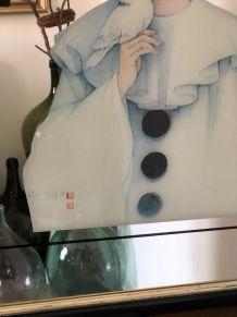 Grand miroir mural Pierrot vintage