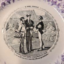 """assiette parlante Vieillard """"le monde renversé"""" le marché."""