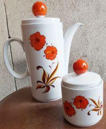 Cafetière et sucrier vintage -  Bavaria - Fleurs orange
