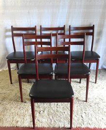 Série de 6 chaises style scandinave – années 60/70