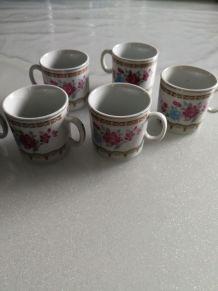 6 Tasses à café à motif floral