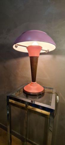 lampe alu art deco bauhaus 1940 rose   42x30 trace d usure n