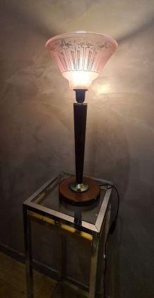 grande lampe art déco  abat jour rose 1930  avec motif opaqu
