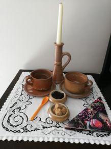 Duo petit déjeûner romantique en grès