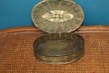 ancienne boite en cuivre style osier année 50-60