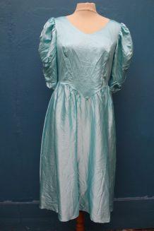 robe bleu claire satin style princesse année 70-80